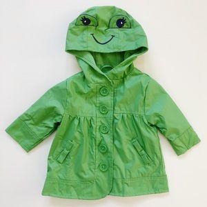 Gymboree Green Frog Hooded Raincoat 6-12 Mos